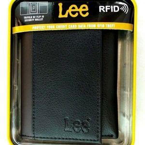 Men's Wallet Trifold Lee Black Leather RFID Block